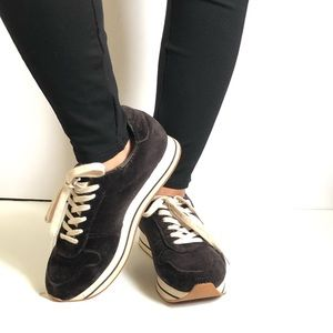 Zara Black Sneakers Lace Up Velvet Rubber 40